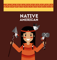 native american indian holding spear and tomhawk vector image vector image