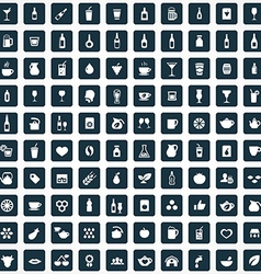 100 drinks icons set vector image