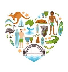 Australia Heart Shape vector image