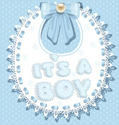its a boy baby shower on bib vector image vector image
