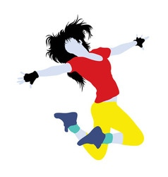 Female Hip Hop Activity Silhouette vector image