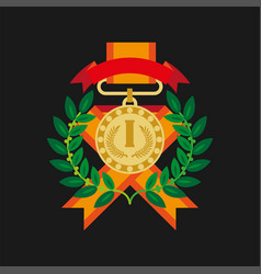 golden medal for first place with laurel wreath vector image vector image