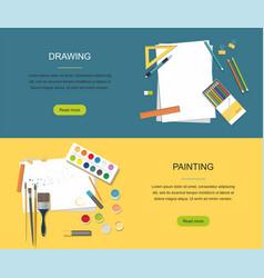 Hobby painting drawing web banner vector