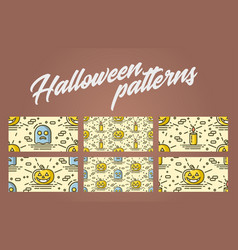 set of halloween seamless patterns with pumpkin vector image vector image