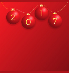 2017 new year background with red christmas ball vector image