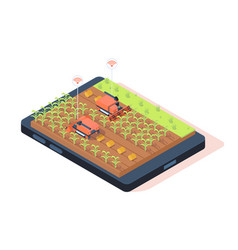 3d isometric smart farming with remote controle vector image