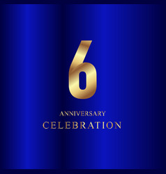 6 year anniversary celebration gold blue template vector