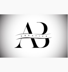 Ab letter logo with serif letter and creative cut vector