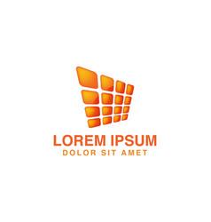 abstract orange solar panel logo vector image