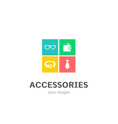 Accessories icons flat style logo design vector