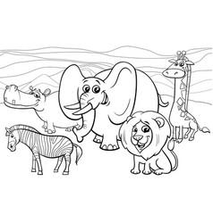 African animals cartoon coloring book vector