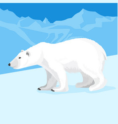 Big polar bear at north pole cartoon style vector