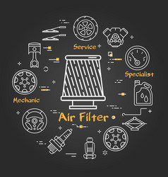 Black linear banner of air filter vector