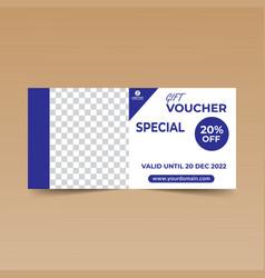 blue gift voucher design template vector image