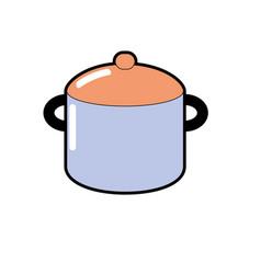 Boiler pan kitchen utensil object to cuisine vector