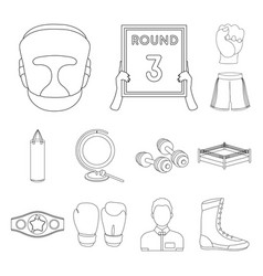 Boxing extreme sports outline icons in set vector