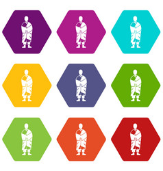 buddhist monk icon set color hexahedron vector image