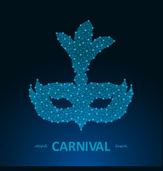 carnival mask made by points and lines brazil vector image