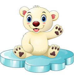 Cartoon baby polar bear sitting on floe vector