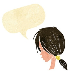 cartoon girl looking thoughtful with speech bubble vector image