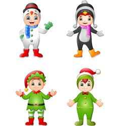 cartoon kids wearing christmas costume vector image