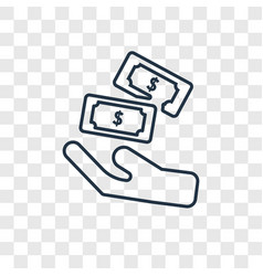 cash concept linear icon isolated on transparent vector image