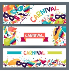 Celebration horizontal banners with carnival icons vector