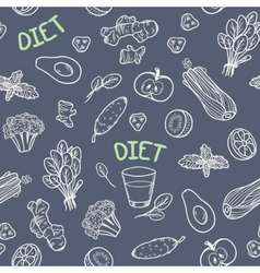 Chalk style vegetables seamless pattern vector image