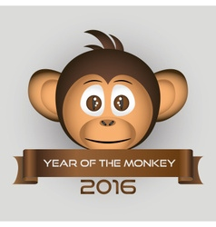 Chimpanzee little monkey head and year of the vector