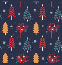 christmas tree seamless pattern background vector image