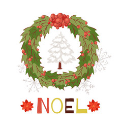 Christmas wreath with snowy fir tree and shining vector