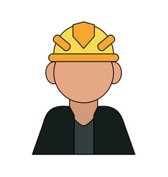 Color silhouette cartoon half body faceless worker vector
