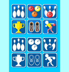 Colorful bowling icons set vector