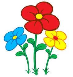Colorful cartoon flowers vector
