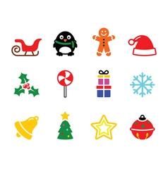 Colorful Christmas icons set vector image