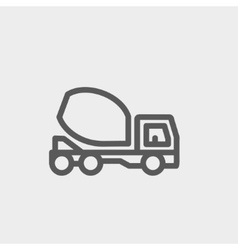 Concrete mixer truck thin line icon vector image