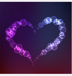 creative heart made with circles in neon style vector image