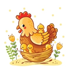 Cute cartoon hen with chickens sitting in a basket vector