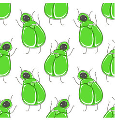 cute cartoon seamless pattern with funny green vector image