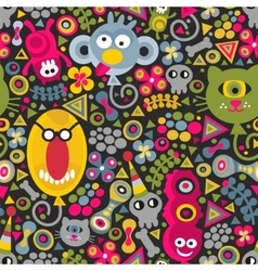 Cute monsters balloons seamless pattern on dark vector image