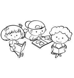 doodle children learning character vector image