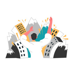 earthquake or disaster mountains and buildings vector image
