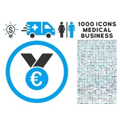 Euro Prize Medal Icon with 1000 Medical Business vector image
