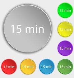 Fifteen minutes sign icon Symbols on eight flat vector