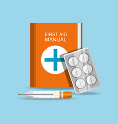 First aid manual with pills and thermometer vector