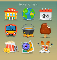 Funny travel icons-set 4 vector