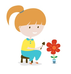 Girl Grows The Flower EPS10 vector image