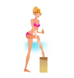 Girl in swimsuit resting on beach smears cream vector