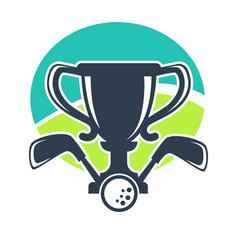 Golf club or tournament award cup icon vector