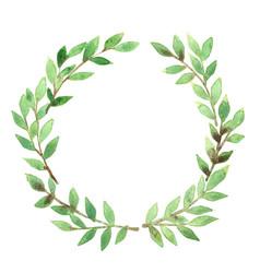 Green leaf wreath frame watercolor vector